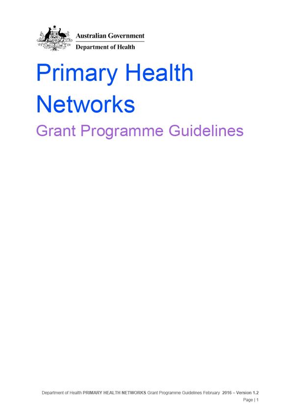 PHN Grant Program Guidelines
