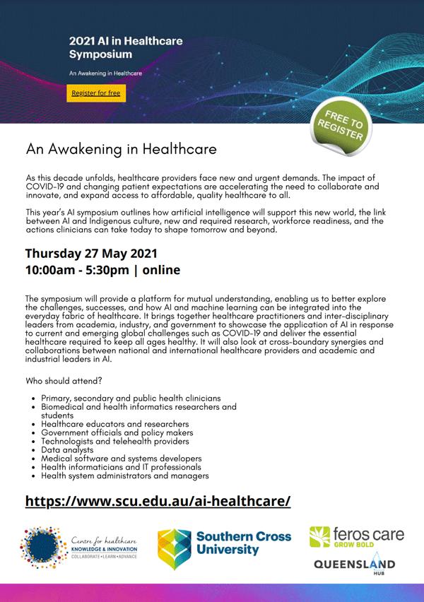 AI in healthcare symposium flyer