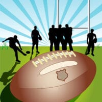 Image of NRL ball and silhouetted players.